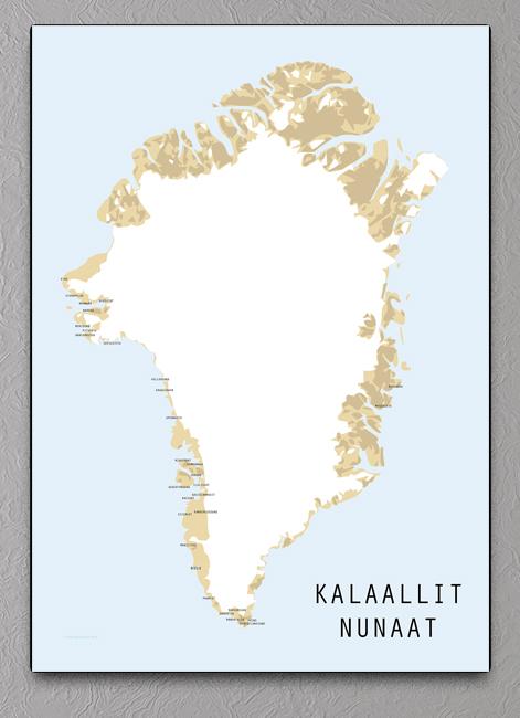Kalaallit Nunaat Kort Plakat Med Gronland
