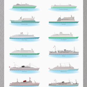 Færge plakat med bornholmske færger