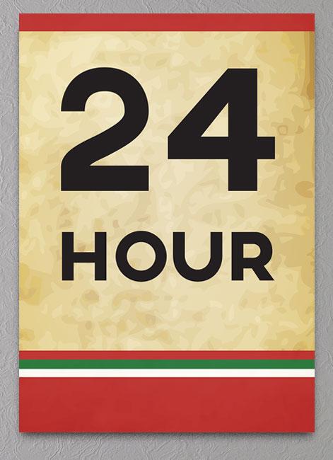 Retro 24 timers parkering plakat