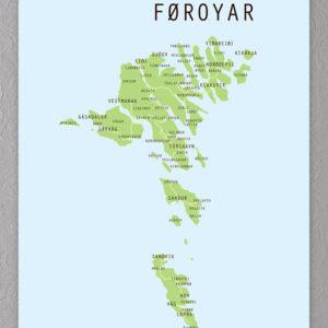 Færøerne kort plakat