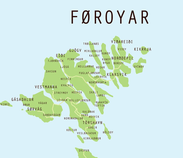 Foroyar Kort Plakat Plakat Med Landkort Over Faeroerne