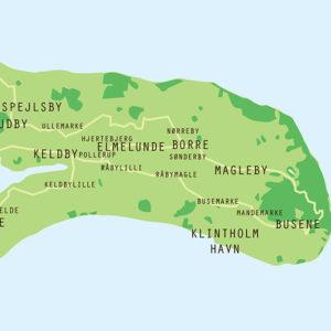 Møn plakat landkort detalje
