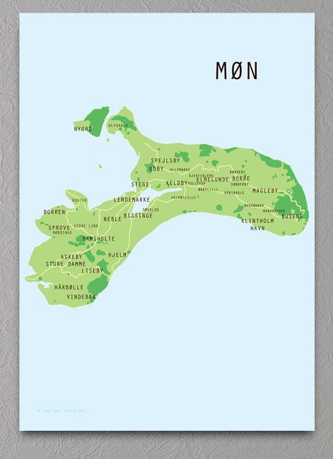Mon Kort Plakat Grafisk Plakat Med Landkort Over Mon